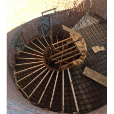 Армировочная конструкция винтовой бетонной лестницы