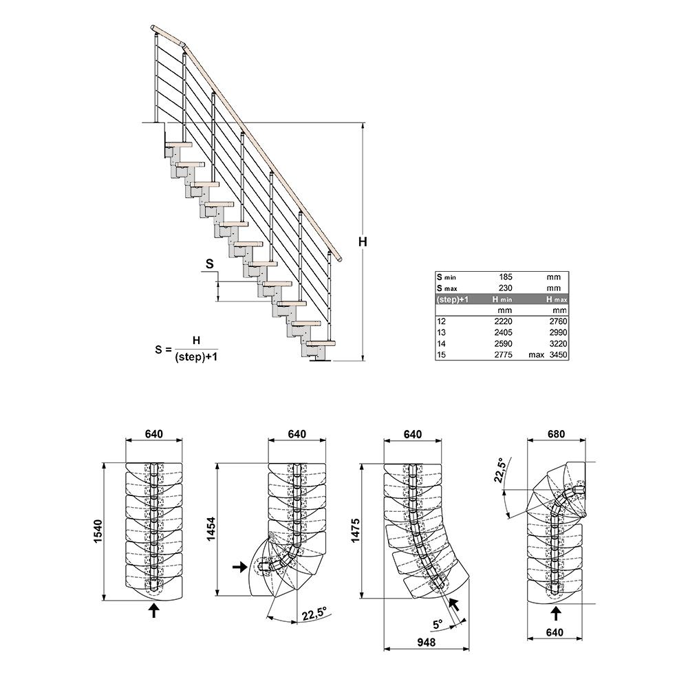 """Фото Модульная лестница со ступенями """"утиный шаг"""""""
