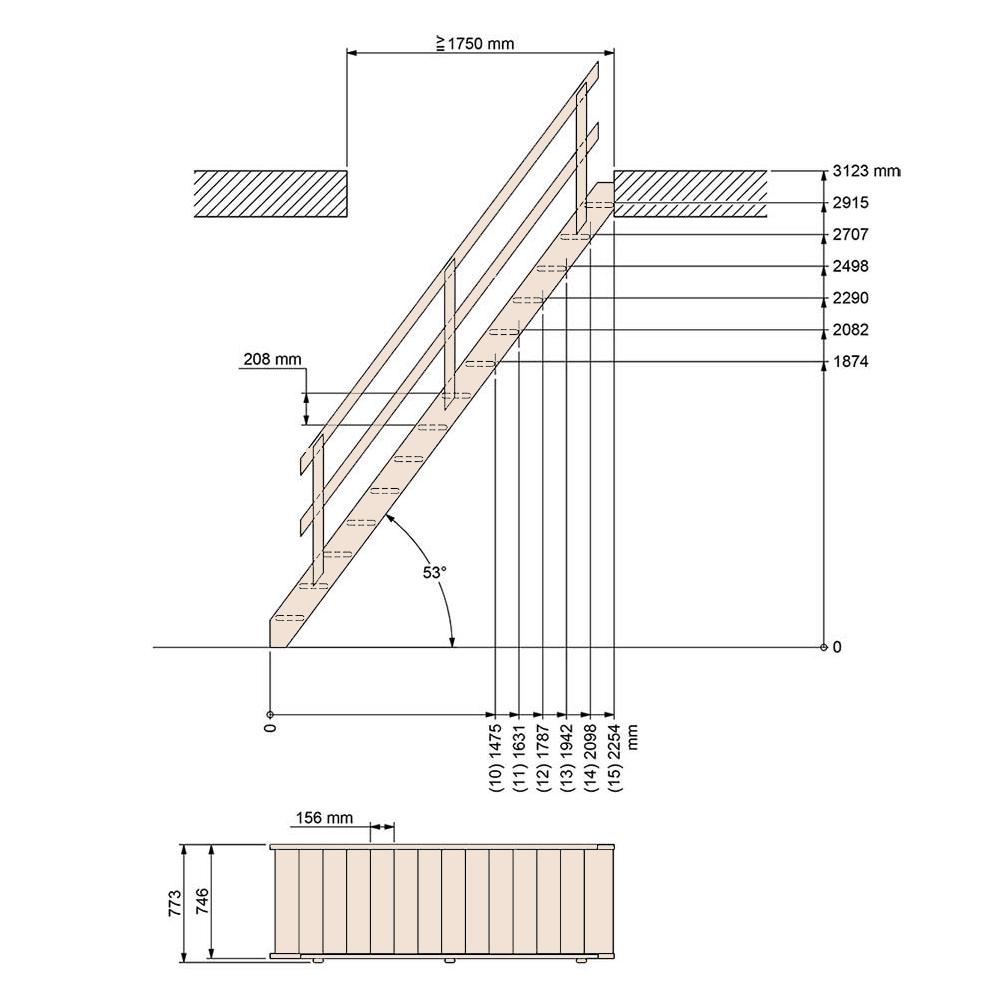 Фото Размер лестницы на второй этаж