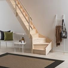 Деревянная лестница DOLLE Normandie забежная с подступенями