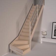 Деревянная лестница DOLLE Savoie C забежная с подступенями