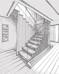 Проектирование эскиза лестницы