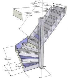 фото Расчет двухмаршевой лестницы
